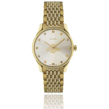 G-Timeless Slim Silver Dial Gold-Tone Quartz 36 mm | YA1264155