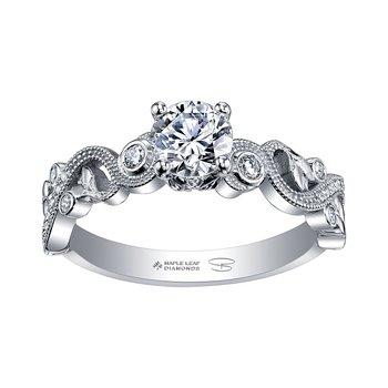 .89crt T.W. Canadian Maple Leaf Diamond Engagement Ring