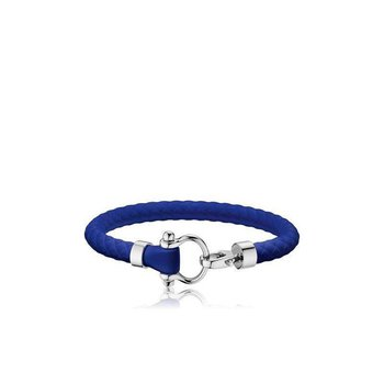 Sailing Bracelet in stainless steel and blue rubber B34STA0509504
