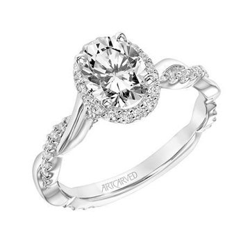 Oval Halo Diamond Engagement Ring with Half Diamond Half Polished Shank.