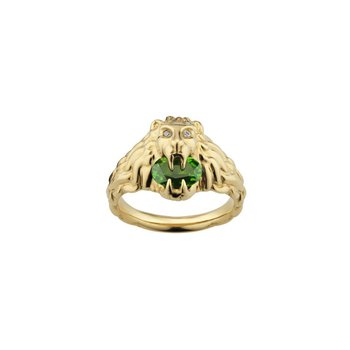 Lion head 18k ring with chrome diopside