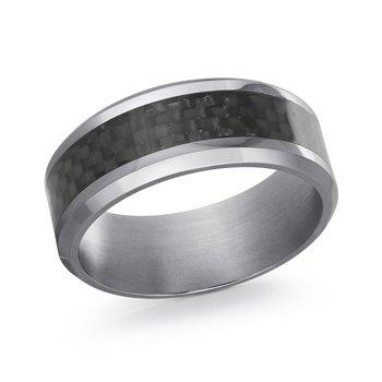 Tantalum & Carbon Fiber Wedding Band 8mm Size 10 Comfort Fit