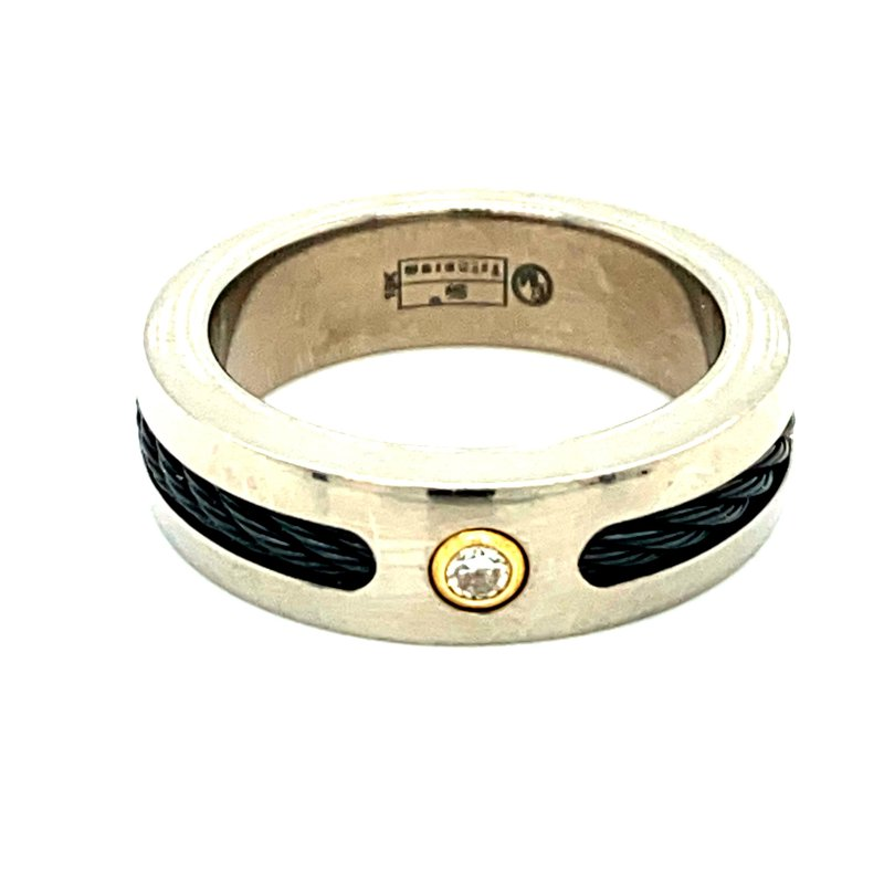 Ashley Titanium & Gold Diamond Set Ring