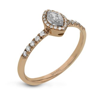 18k Rose Gold Marquise Halo Engagement Ring