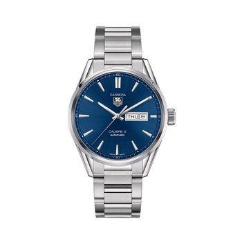 Carrera 41mm Calibre 5 automatic day-date watch Blue dial, steel bracelet