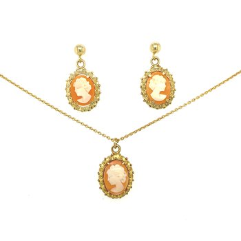Estate Cameo Pendant & Earring set