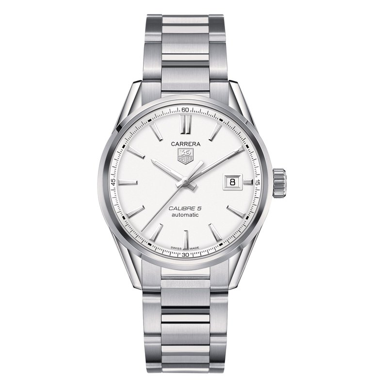 TAG Heuer Carrera 39mm Calibre 5 automatic watch Silver opalin dial, steel bracelet