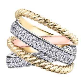 Diamond Tri-Colour Ring