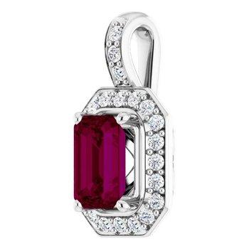 Rodolite Garnet & Diamond Halo Necklace on  Chain