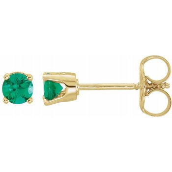 Children's Earrings - Imitaion Emerald May Birthstone