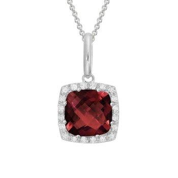 Rodolite Garnet & Diamond Halo Necklace