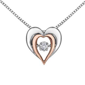 Heart Shaped Diamond Set Pulse Pendant