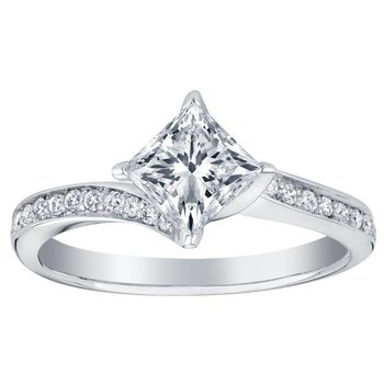 "Canadian ""Maple Leaf"" Diamond set Engagement Ring"