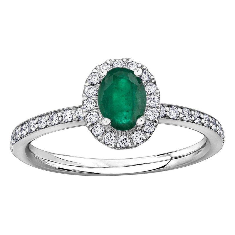 Ashley Ladies Emerald & Diamond Ring