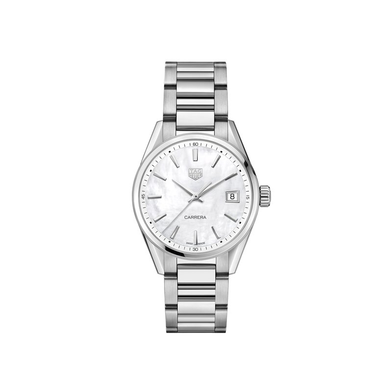 TAG Heuer Carrera Ladies Quartz watch 36mm Polished steel case, white mother-of-pearl dial, steel bracelet