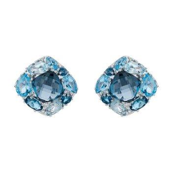 Multi Colour Blue Topaz & Diamond Earrings