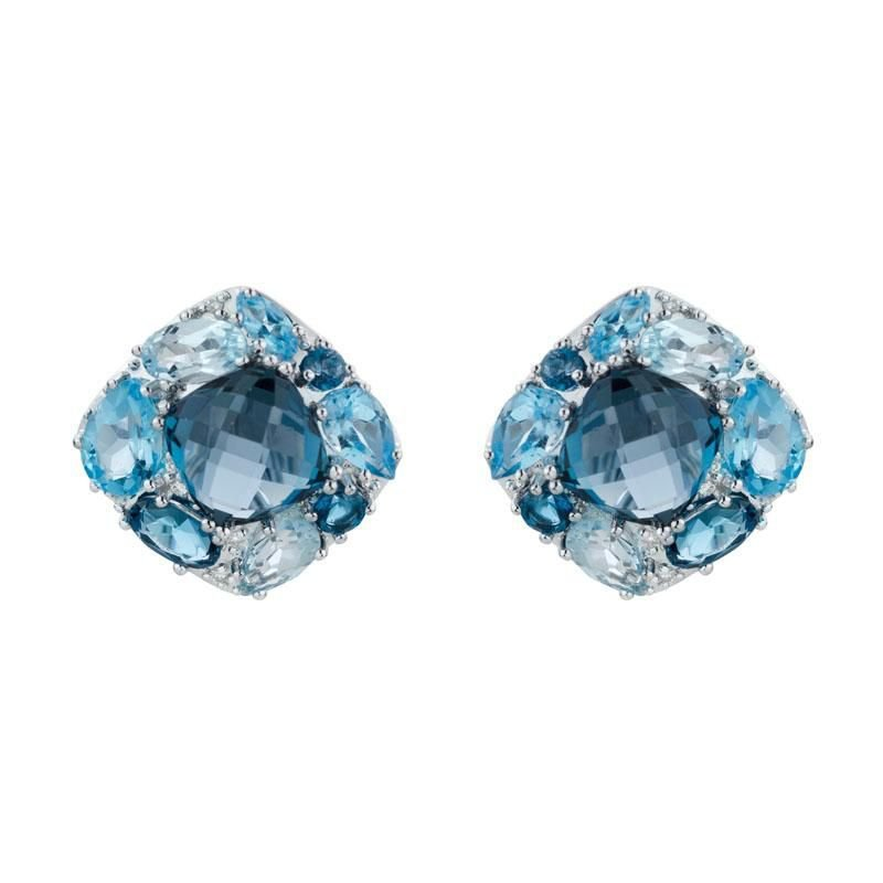 Ashley Multi Colour Blue Topaz & Diamond Earrings