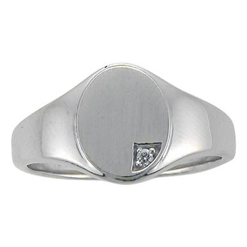 Ladies solid back 10kt diamond set signet ring.