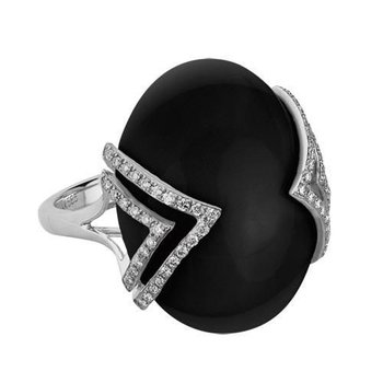 Black Onyx & Diamond Fashion Ring
