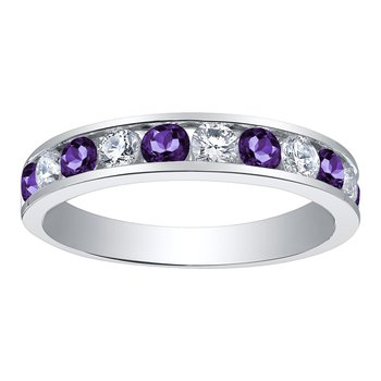 Ladies Amethyst & Diamond Band