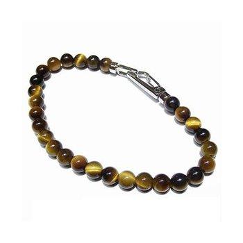 Tiger Eye beads bracelet bracelet  in carabiner closure in stainless steel