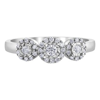 Three-Stone Halo Ring