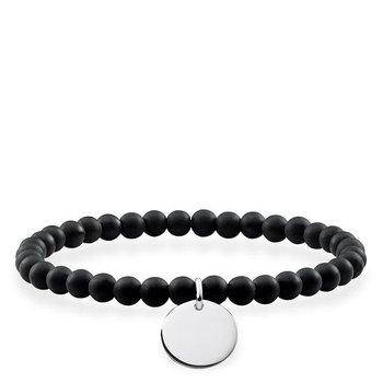 Engravable Black Beaded Bracelet