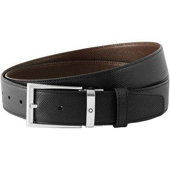 Black/dark brown reversible cut-to-size business belt