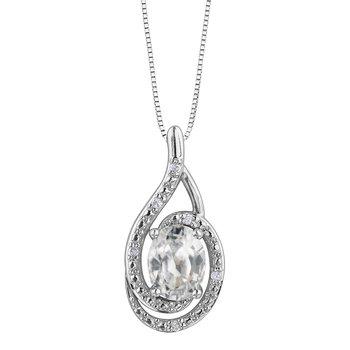 White Topaz & Diamond Necklace