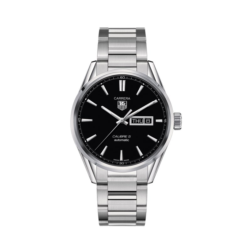 TAG Heuer Carrera 41mm Calibre 5 automatic day-date watch Black dial, steel bracelet