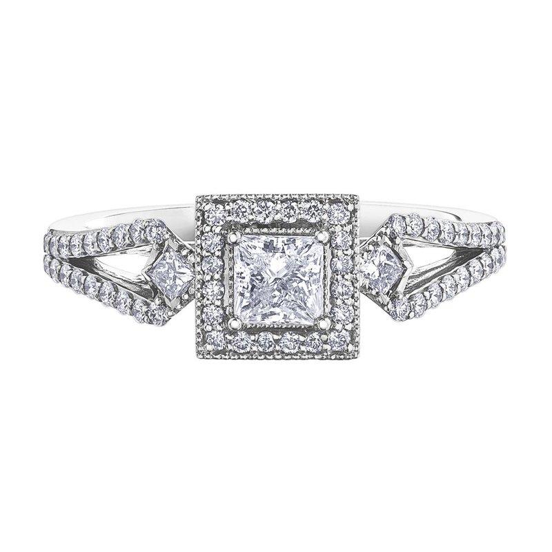I Am Canadian 14k White Gold Princess Cut Diamond Halo Engagement Ring