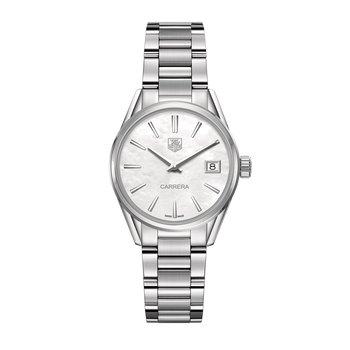 Carrera Ladies Quartz watch 32mm Polished steel case, white mother-of-pearl dial, steel bracelet