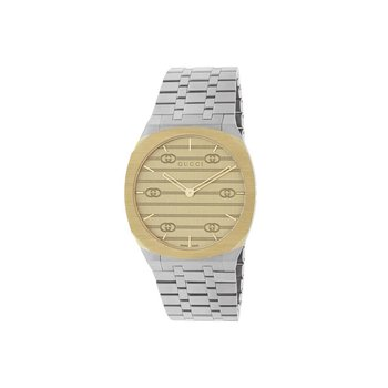 GUCCI 'GUCCI 25H' STEEL AND 18K GOLD PLATED WATCH YA163403