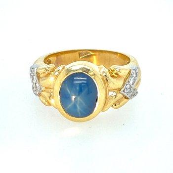 Star Sapphire & Diamond Ring