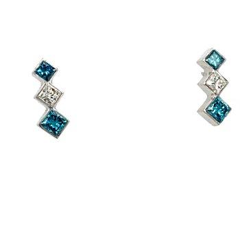 Treated Blue & White Diamond Earrings