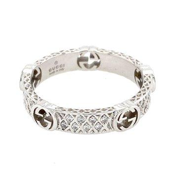 White  gold and diamond ring with Interlocking G