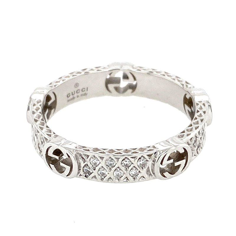 Gucci White  gold and diamond ring with Interlocking G
