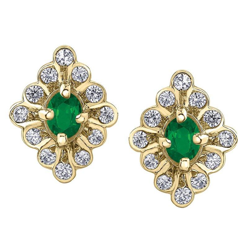 Ashley Emerald and Diamond Stud Earrings