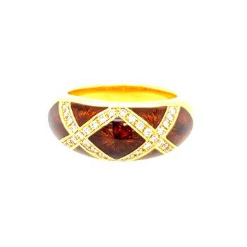 Faberge Enamel & Diamond Ring