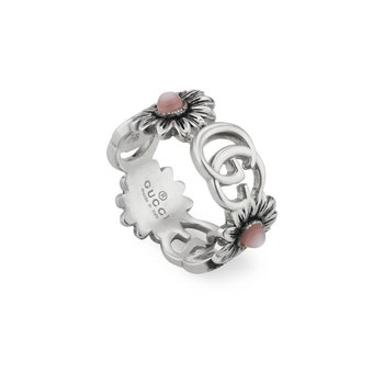 GG MARMONT YBC527394002 Ring with Double G and flower motif in sterling silver and pink mother of pearl  SIZE 7