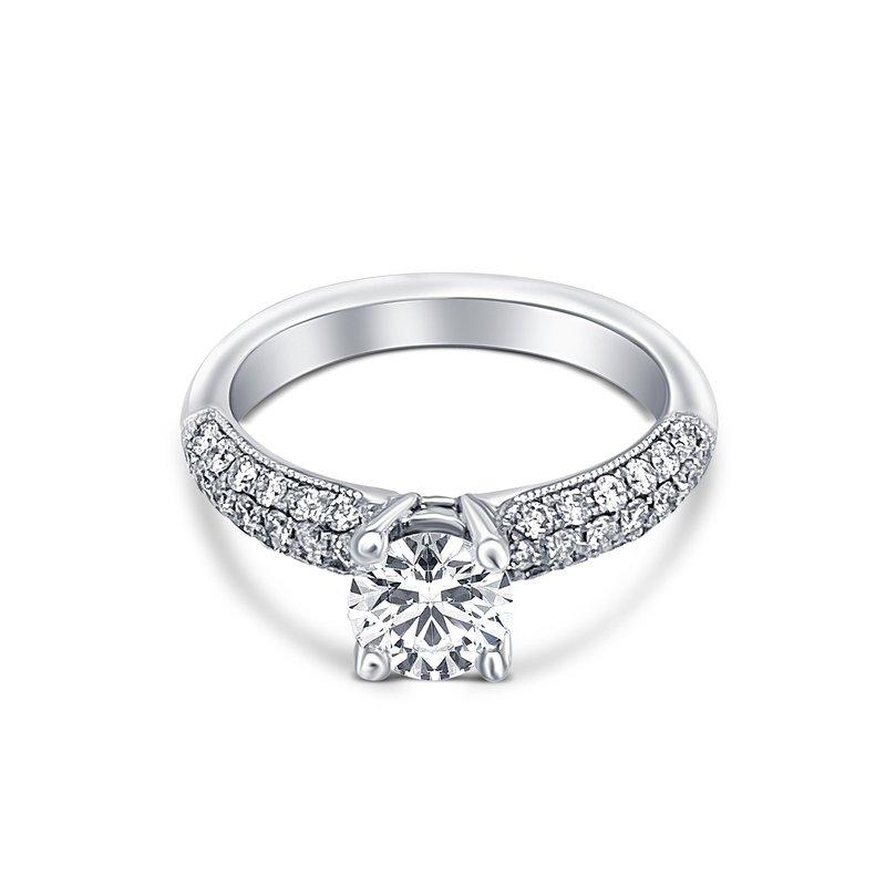 Ashley 14k White Gold Pavé Round Diamond Engagment Ring
