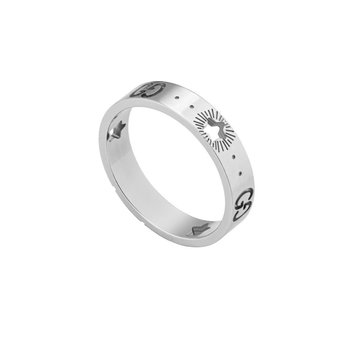 Icon white gold ring with stars