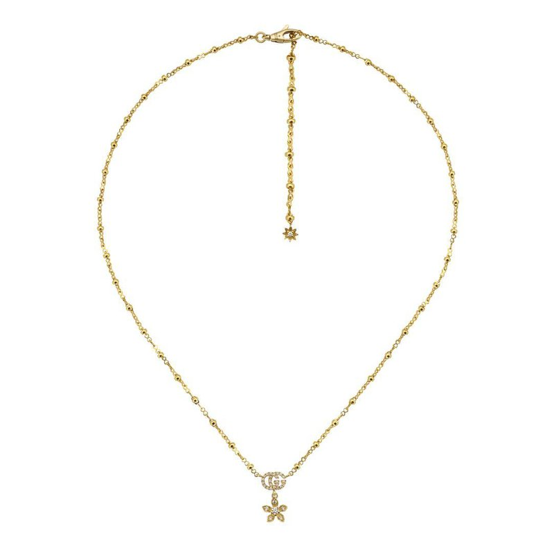 Gucci Flora 18k Gold Necklace with Diamonds