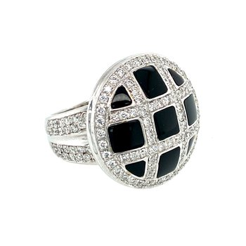 Ladies Black Onyx & Diamond Ring