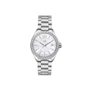 Formula 1 35mm quartz watch, white MOP dial, diamond bezel, bracelet