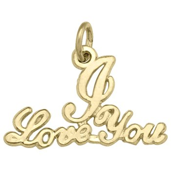 Yellow Gold I love You Charm