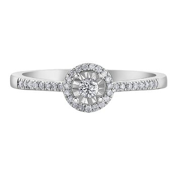 Diamond set Halo Ring
