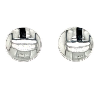 White Gold Disc Earrings