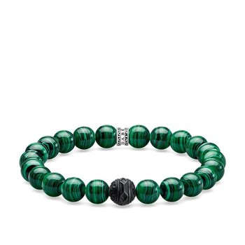 Mens Braclet with Simulated Malachite & Obsidian 19cm A1778-530-6-L19