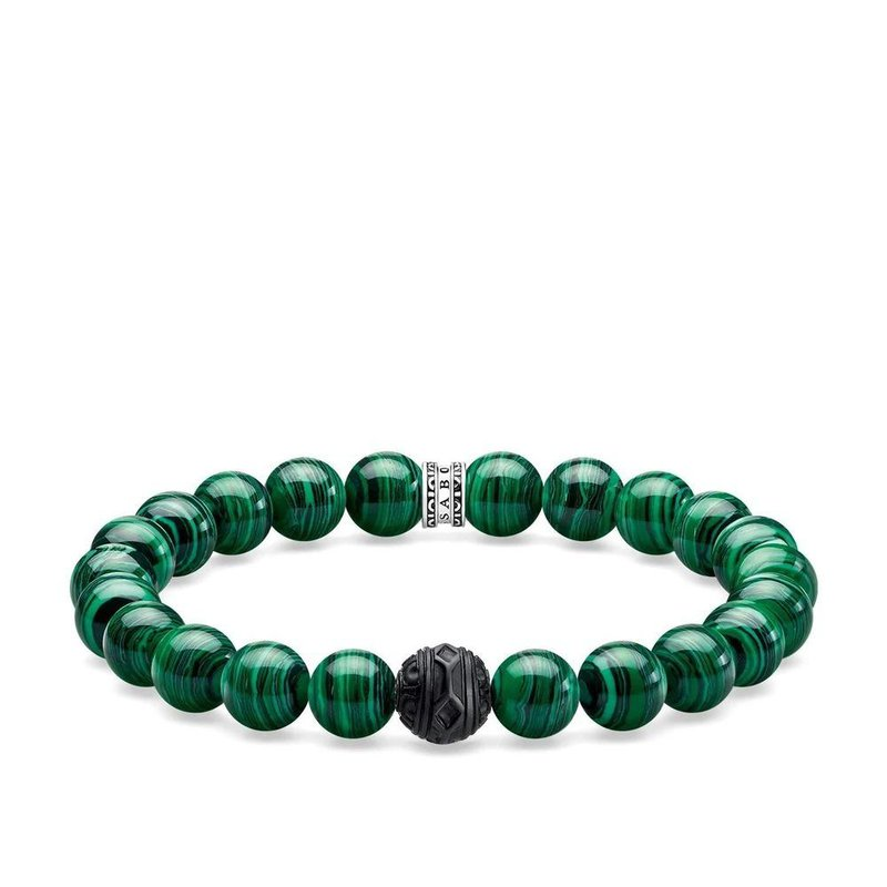 Thomas Sabo Mens Braclet with Simulated Malachite & Obsidian 19cm A1778-530-6-L19
